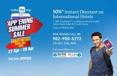 50% Instant Discount on International Hotels + 30% cashback with SBI Cards (Onl... At Makemytrip.