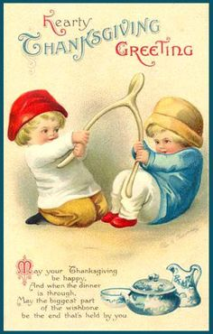 Clip Art of Pulling The Wishbone Card - Public Domain