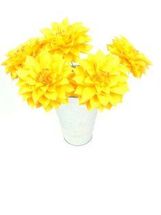 The  Dahlia Handmade Paper Flower   set of 5 by PAPERandPEONY