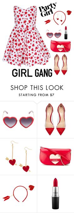 """""""<3 Love"""" by humblechick1 on Polyvore featuring Markus Lupfer, Gianvito Rossi, Love Moschino, MAC Cosmetics, women's clothing, women, female, woman, misses and juniors"""