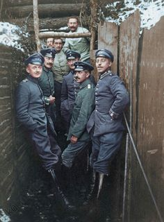 German officers in the trenches, 1915.