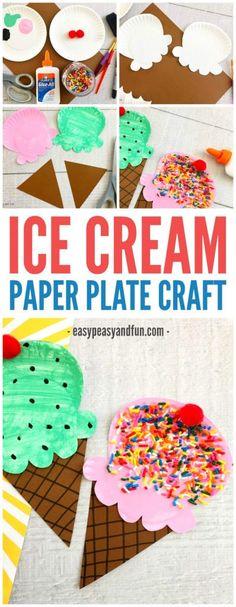 Fun Paper Plate Ice Cream Craft for kids - Crafts for Kids Summer Crafts For Kids, Summer Kids, Spring Crafts, Art For Kids, Kids Fun, Summer Crafts For Preschoolers, Holiday Crafts, Craft Activities For Kids, Preschool Crafts