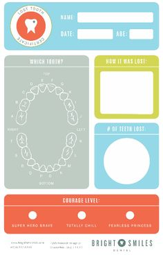 Free tooth fairy kit printable. Love how colorful and the cute courage level is clever!