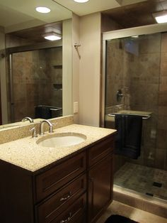 Basement bathroom remodel.  Pioneer cabinetry. I like the color