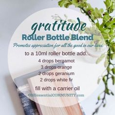 """""""gratitude"""" roller bottle blend promotes appreciation for all the good in our lives-- LOVE this!! amazing find! there are tons of great roller bottle blends {and FREE super cute labels} for all kinds of emotions-- calm, focus, grounding, balance, gratitude, happy, energy, comfort, motivation, courage, confidence, cheer, creativity, and more!!"""