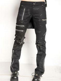 Steampunk - Steampunk Black Cotton Lolita Pants Print Zippers Buckles Designed