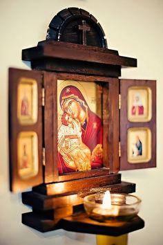 Orthodox altar for home. Buy it here… Religious Icons, Religious Art, Catholic Altar, Prayer Corner, Home Altar, Home Icon, Prayer Room, Orthodox Icons, Sacred Art