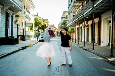 Show me your NOLA! Dancing in the streets, does it get more New Orleans for this engagement session? | New Orleans Engagement Photography