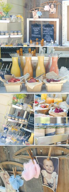 Darling Neutral Vintage Inspired Party with mimosa and bagel bars... I like the mimosa bar!