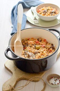 Locrio de molleja (Dominican rice and chicken gizzards)