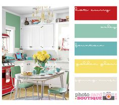 Would this be an awesome retro color scheme for my kitchen?  Love the turquoise and yellow.  Wish I had a red stove!