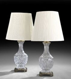 Tall Pair of Waterford Cut-Glass Table Lamps