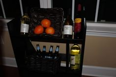 Repurposed Book shelf: I find these midcentury book shelves a lot. I turned this into a wine/beer holder.