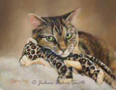 Tabby Cat with Toy Fine Art Print by @Julene Baker-Smith, PSA on Etsy#cat #art