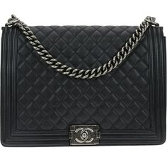 Pre-owned Chanel Black Calfskin Quilted Large Boy Flap Bag (249,480 PHP) ❤ liked on Polyvore featuring bags, handbags, chanel, strap bag, preowned handbags, pre owned handbags, chanel purse and calfskin purse