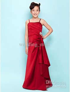 a Line Spaghetti Straps Sweep Train Red Satin Beads Pleated Flower Girls Dresses for Wedding Discount Pageant Dresses for Kids, $62.67 | DHgate