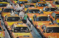 "Saatchi Online Artist Stephanie Fonteyn; Painting, ""New York Taxi Jam"" #art"