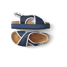 Deceptively lightweight sandals with cross-over front straps in mesh trimmed with leather and duotone platform soles.