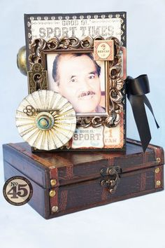 Share special memories with your dad this Father's Day with a similar altered box and tag mini! Altered gifts by Arlene Cuevas using Good ol' Sport #graphic45 #fathersday