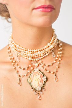 Vintage Pearl Cameo Choker Necklace in Pink by AlisaBenay on Etsy.Cameos, you're doing it right.
