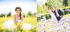 This couple get extra points for posing in a field full of purple flowers – which is the colour of Rapunzel's dress in Tangled! Image credit: Miles Hart Photography
