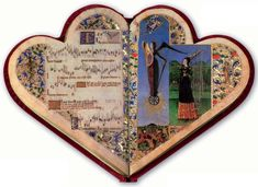 A fifteenth-century French songbook in the shape of a heart-shaped illuminated manuscript; the heart represents love/devotion. (MIT Libraries)