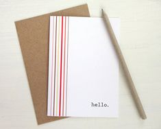 Hello card retro stripes greeting card brown red by AvenirCards