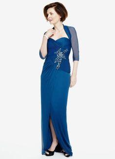 3/4 Sleeve Bolero Mesh Dress with Beaded Detail 091898400