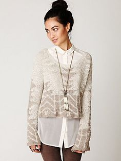Free People: Cotton Fairisle Pullover. High-low style. Oversized, slouchy fit. Colour: white. CAD $171.74