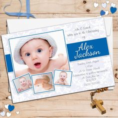 Christening Invitation Blank Template for Baby Boy Beautiful Dotted Blue Free Printable Baptism & Christening Gallery - Invitation Card Baby Dedication Invitation, Baptism Invitation For Boys, Christening Invitations Girl, Baby Boy Invitations, Baby Boy Christening, Photo Invitations, Birthday Invitations, Christening Cards For Boys, Christening Cakes