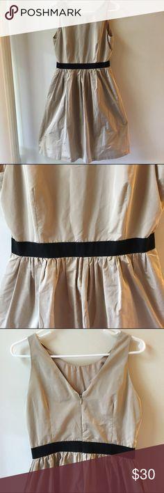Helene Berman Dress, Gold - Size 6 Gold with black waist band. Zip back. 100% polyester Helene Berman Dresses