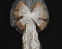 country rustic pew decorations | ... White Wire E dge Rustic Wedding Bows Pew Church Aisle Decorations