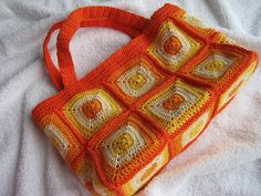 Summer Hand Crocheted Bag - you could use wooden handles instead of crocheted ones