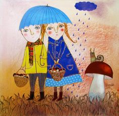 Sunshower by Anna Silivonchik Walking In The Rain, Singing In The Rain, Showers Of Blessing, National Art Museum, Under My Umbrella, Naive Art, Illustrations, Cute Illustration, Pet Birds