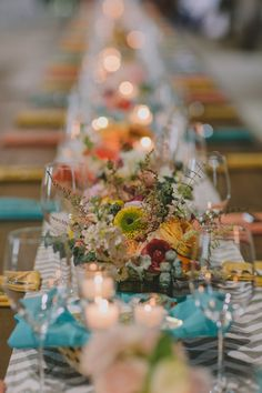 teal, yellow, and chevron reception // photo by Chellise Michael // styling by Elizabeth Demos