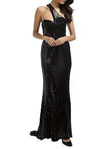 Black angelina long sequin dress