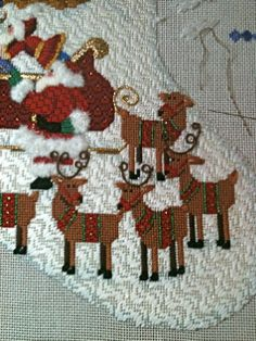steph's stitching: This is the way to Amy's House Needlepoint Designs, Needlepoint Stitches, Needlepoint Canvases, Needlework, Needlepoint Christmas Stockings, Reindeer Craft, Embroidery Needles, Bargello, Creative
