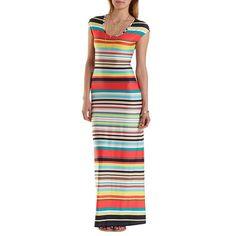 447f01a82db Cap Sleeve Striped Maxi Dress  Charlotte Russe  stripes  maxidress Spring  2015 Fashion