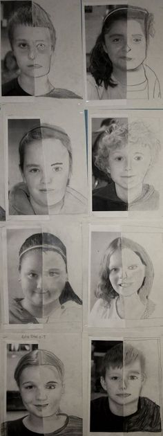 These self-portrait drawings by 5th graders were on display at the elementary school at the end of the school year, a nice tribute to the 5t...