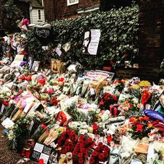 Repost davidmorrissey Walked past George's house today. Amazing tributes laid by people from all over the world!