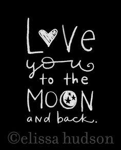 Liebe dich bis zum Mond und zurück von elissahudson auf Etsy