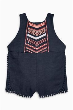 Buy Charcoal Embroidered Playsuit (0mths-2yrs) from the Next UK online shop