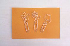 Set of 3 Silver wire paper clip, floral bookmarks, clip memo, fully handmade, DIY favors, gift idea