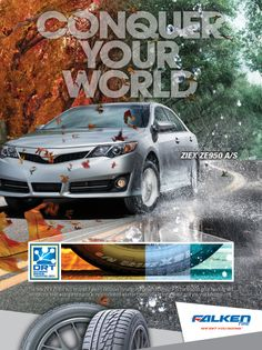 Falken Tire ad for Motor Trend magazine, Rain or Shine our ZIEX ZE950 All Season Tires make all the difference