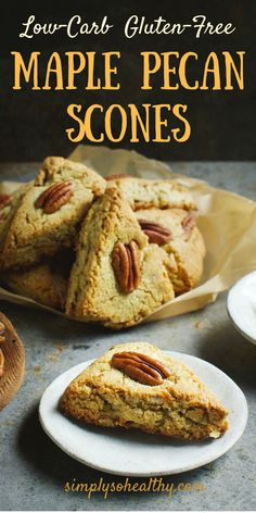 These Low-Carb Maple Pecan Scones make a delicious breakfast pastry or snack any. These Low-Carb Maple Pecan Scones make a delicious breakfast pastry or snack anytime of the day. Breakfast Pastries, Low Carb Breakfast, Breakfast Recipes, Dinner Recipes, Dessert Recipes, Low Carb Bread, Low Carb Keto, Gluten Free Recipes, Low Carb Recipes