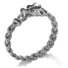 John Hardy Batu Naga Silver Dragon Head Bracelet on Small Braided... (€1.325) ❤ liked on Polyvore featuring jewelry, bracelets, john hardy bangles, drusy jewelry, silver bangles, handcrafted jewelry and cuff bangle