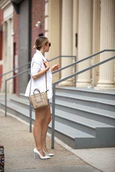 Blazer: Karen Kane   Denim Shorts: Rag & Bone   Tee: ATM   Shoes: Manolo Blahnik (similar alternative for less than $100)   Sunglasses: Krewe 'Julia'   Bag: Celine