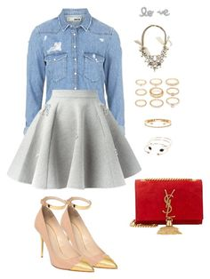 """""""691"""" by julialeskiv ❤ liked on Polyvore featuring Topshop, Philipp Plein, Balmain, Lydell NYC, Yves Saint Laurent, MANGO, Delfina Delettrez and Forever 21"""