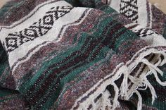 Mexican Serape Saltillo Western Style Blanket Throw, Green Grey Black White Falsa Blanket, Mexican Rug, Twin Bed Cover, Dorm - SOLD! :)