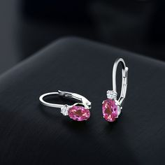 Buy Ct Oval Pink Mystic Topaz & White Sapphire 925 Sterling Silver Leverback Earrings - and Find Large Selection of Designer Jewelry at Best Prices I Love Jewelry, Jewelry Design, Buy Gems, Gold Ornaments, Mystic Topaz, White Sapphire, Designer Earrings, Dangles, Stud Earrings